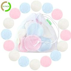 Natural Cotton Rounds Reusable 16 Packs - Reusable Bamboo Makeup Remover Pads for face - Reusable Facial Pads Facial Cleansing Toner Pads with Laundry Bag (Bamboo Velour, 3 color) Deep Cleaning Tips, House Cleaning Tips, Cleaning Hacks, 43 Things, Things To Buy, Stuff To Buy, Bamboo Bamboo, Makeup Remover Pads, Makeup Removers