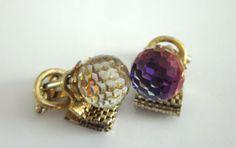 DANTE Iridescent CUFFLINKS Rainbow Faceted GLASS by jewelryannie, $36.50