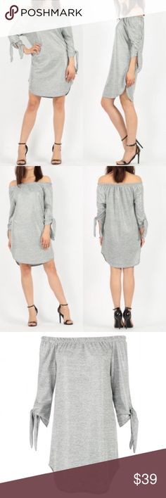 • NEW! Loose Fit - Off the Shoulder Dress • Knit Dress with slight shimmer. Loose fit style. Elastic neckline, off the shoulder dress. Tie sleeves. Curved hem, soft crepe fabric. Fabric thickness and great quality material. Made in the U.K. Size chart included. Silver - Gray color. Pictures don't do it justice   Approximate Length: 78cm / 31 inches Material: 95% Polyester 5% Elastane Dresses