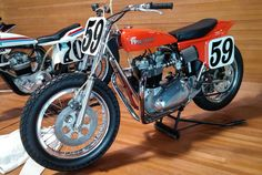 Skip Van Leeuwen was one of the most successful #AMA #flattrack and #TouristTrophy #racers in the '60s. #Triumph was his sponsor and Van Leeuwen won his first AMA national at #AscotPark, #California, in 1967. A fuel line had broken, and he wouldn't have made another lap. We're proud to display Van Leeuwen's Lap of Legends #Triumph #59, built in 2000 for the Lap of Legends parade accompanying the first annual Dick Hammer Award. #750cc #Trackmaster