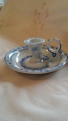 Vintage Oriental Blue and White Chamberstick by RusticRambling, $15.00