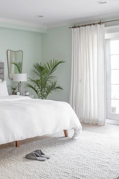 Jun 2019 - Richard Blaise's Parachute Home makeover featuring custom Ivory Organic Cotton drapery from Barn & Willow. Light Green Rooms, Light Green Bedrooms, Bedroom Color Schemes, Room Ideas Bedroom, Bedroom Green, Bedroom Interior, Bedroom Wall Colors, Sage Green Bedroom, Calming Bedroom Colors