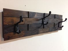 Rustic wall mount wood shim coat hook rack - 3 oil rubbed bronze coat hooks, dark walnut stain - vintage, country, entryway, storage, distressed Rustic Coat Hooks, Rustic Wall Hooks, Coat Hooks Wall Mounted, Dark Walnut Stain, Walnut Wood, Rustic Walls, Rustic Wood, Coat Racks, Coat Hanger