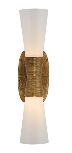 KELLY WEARSTLER   UTOPIA SMALL DOUBLE BATH SCONCE. Features topographic and organic forms in Gild, Polished Nickel or Aged Iron