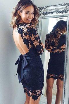 Black Long Sleeves Lace V-neck Short Prom Dress Homecoming Dress Evening Dress