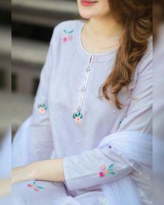 Neckline Designs, Dress Neck Designs, Kurti Neck Designs, Kurta Designs Women, Kurti Designs Party Wear, Hand Embroidery Dress, Embroidery Suits Design, Embroidery Fashion, Pakistani Fashion Casual