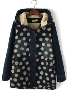 Navy Blue Polka Dot V-neck Denim Padded Coat