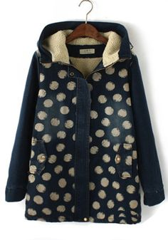 Navy Blue Polka Dot V-neck Denim Padded Coat