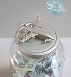 Instead of a honeymoon fund jar. you should make this darling honeymoon fund, top-loading shadow box frame! Saving For Honeymoon, Honeymoon Fund, Mason Jar Crafts, Mason Jars, Travel Fund, Travel Money, Travel Diys, Air Travel, Wrapping Ideas