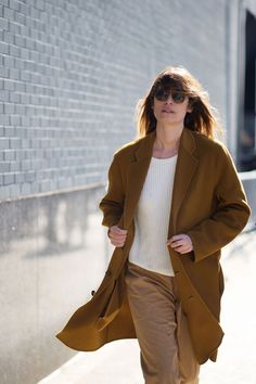 Caroline de Maigret - The Cut Again. Right sweater, right coat, khakis OK.