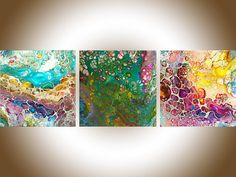Acrylic fluid art Acrylic pour set of 3 abstract art original artwork canvas art fluid painting gift for her gift for man by qiqigallery
