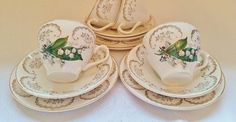 Vintage Tea Cup Set Saucer Side Plate British Green Golden China Porcelain Lily Of The Valley Spring