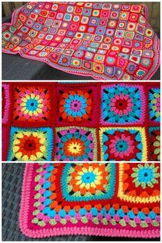 Delen Tweet + 1 E-mailen Na de laatste tijd veel strepen gehaakt te hebben, werd het tijd voor iets anders: een granny square deken ...