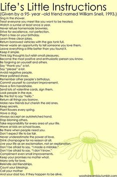 life's little instructions from a 95 year old - Click image to find more Quotes Pinterest pins