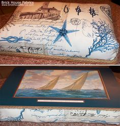 Thank you SO MUCH Virginia for sending in these pictures! Fantastic use of the : Nautical lighthouse fabric vintage postcard French writing - A lighthouse fabric. A nautical lighthouse keeper's fabric with vintage French postcards. There are also, starfish, seahorses, coral, knots, and compass roses. One can almost smell the salt air! #pillow #diy #beach_living