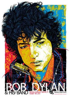 Bob Dylan concert poster at the Municipal Auditorium, Nashville- Oct 19, 2010. Hand made screen print on 250gsm paper. Signed & numbered edition of 210. Artist:  Rhys Cooper