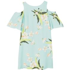 MANGO Floral-print flowy dress ($80) ❤ liked on Polyvore featuring dresses, sleeved dresses, flutter-sleeve dresses, frill sleeve dress, flower print dress and green dress