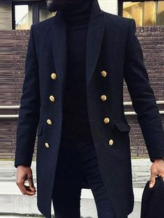 Plain Mid-Length Slim Double-Breasted Coat - Dark Blue / S Mens Fashion Suits, Mens Suits, Double Breasted Coat, Well Dressed Men, Gentleman Style, Mens Clothing Styles, Stylish Men, Winter Fashion, Menswear