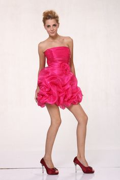 Homecoming Elegant Strapless Ruched Top Short 2015 Prom Short Dress Bubble Skirt #ThedressoutleT #Bubble #Cocktail