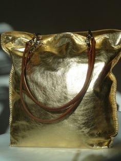 Gajumbo Tote Bag Metallic Leather - Gold Silver by IMPERIO jp