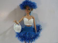 Вязанные юбка-пачка, топик и сумочка для куклы. Outfit for Barbie.