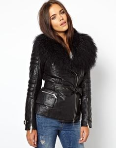 Image 1 ofRiver Island Leather Jacket With Faux Mongolian Fur