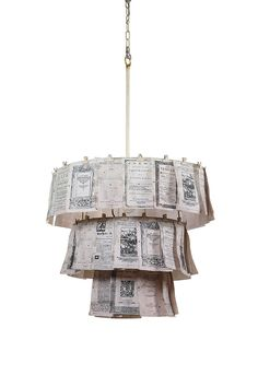 I have the idea of doing something like this using what looks like a waitresses order pad and writing recipes on it... then hanging it from one of the spinners they use to give the cook the order and making it into a chandelier for the kitchen ...
