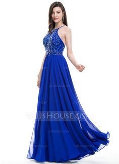 [US$ 119.99] A-Line/Princess Scoop Neck Floor-Length Chiffon Prom Dress With Beading Sequins (018107795)