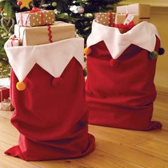Giant Pom Pom Santa Sack - this would be cute for a youth Christmas party when Santa comes to visit