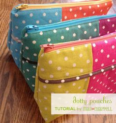 New Mochi Linen Dot fabric by Moda Dotty Pouches TUTORIAL - may chappell