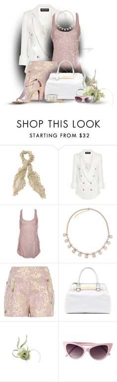 """""""Lady Lilac"""" by rockreborn ❤ liked on Polyvore featuring Balmain, Miss Ferriday, River Island, Vince Camuto, Philip Treacy, Burberry, Tory Burch and Marc by Marc Jacobs"""