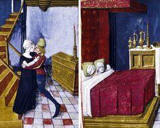"""""""Troilo e Criseide si incontrano e vanno a letto insieme"""", miniatura tratta dal 'Filostrato' (terzo quarto del XV secolo), Bodleian Library, Oxford."""