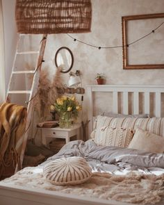 There is a rhythm inside a year of time, like a great mainspring that keeps it ticking from spring to summer to fall to winter. Vintage Inspired Bedroom, Cozy Living, Living Room, Farms Living, Aesthetic Bedroom, Autumn Home, Garden Inspiration, Ladder Decor, Master Bedroom