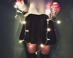рождество, мода, гирлянда, девушка, Новый год, приятно, пати