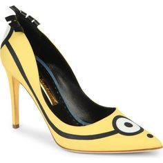 RUPERT SANDERSON Minions limited edition court shoes ($795) ❤ liked on Polyvore featuring shoes, pumps, heels, yellow, yellow shoes, fringe pumps, pointed-toe pumps, yellow pumps e high heel pumps