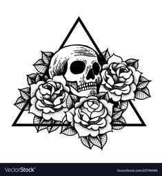 Rose and skull tattoo with sacred geometry frame. Traditional Tattoo Flowers Set Old School Tattooing Style Ink. Skull Tattoo Flowers, Flower Tattoo Arm, Rose Tattoos, Black Tattoos, Calavera Simple, Rosa Old School, Tatto Old, Traditional Tattoo Flowers, Traditional Tattoo Skull