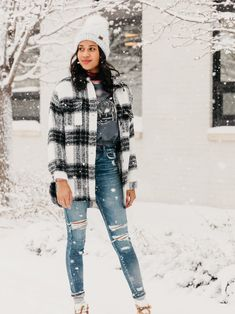 outfit ideas for cold-weather and snow days // oversized plaid jackets and skinny jeans paired with a statement snow boot | Buckle Holiday Style, Holiday Fashion, Plaid Jacket, Leather Jacket, Snow Days, Snow Boot, Winter Looks, Winter Coat, Cold Weather