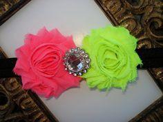 Shabby Flower Headband Neon Pink and Neon by BumbleBeeBowTeek, $7.50