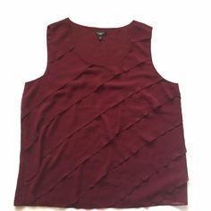 "Talbots maroon ruffle sleeveless blouse Item: Talbots gorgeous oxblood Ruffles sleeveless blouse. So beautiful . Size: 14 . Measurements: bust 22""across length 26"" Talbots Tops Blouses"