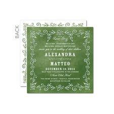 Old World Romance Green/Brown Invitations