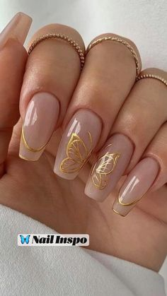 Butterfly Nail Designs, Gold Nail Designs, Nails Design With Rhinestones, Acrylic Nail Designs, Acrylic Nails Coffin Pink, Simple Acrylic Nails, Gold Nails, Gold Nail Art, Acryl Nails