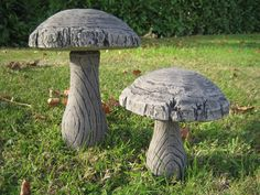 Woodland Mushroom (SET A) stone garden ornament: Amazon.co.uk: Kitchen & Home