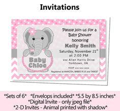 Pink Elephant Baby Shower or Birthday Invitation Invite