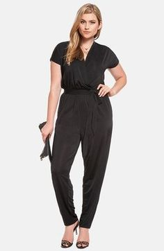 e6a27a0b516 ELOQUII Short Sleeve Surplice Jumpsuit (Plus Size) http   www.1010parkplace