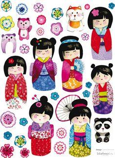 Lot stickers Poupées japonaises - Lilipinso and Co