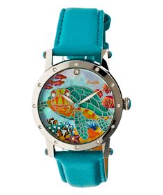 Stainless Steel & Turquoise Chelsea Leather-Strap Watch