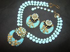 Vintage Unsigned Jonne Teal Seedbeads Crystals Necklace Earrings Haskell Style