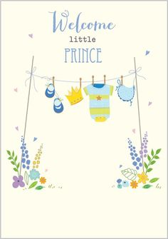 Card Ranges » 7327 » New Baby Boy - Washing Line of Blue - Abacus Cards - Greetings Cards, Gift Wrap & Stationery