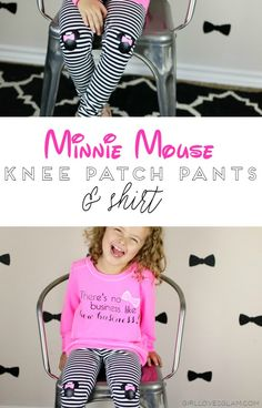 Minnie Mouse Knee Patch and Shirt Tutorial. DIY Minnie Mouse outfit, cute character outfit that is still modern and adorable.
