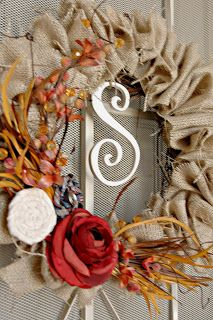 Autumn Burlap Wreath - step by step tutorial - love this! by Sweet Passions on a Thrifty Dime - #burlap #fall #autumn #wreath #crafts #monogram - tå√